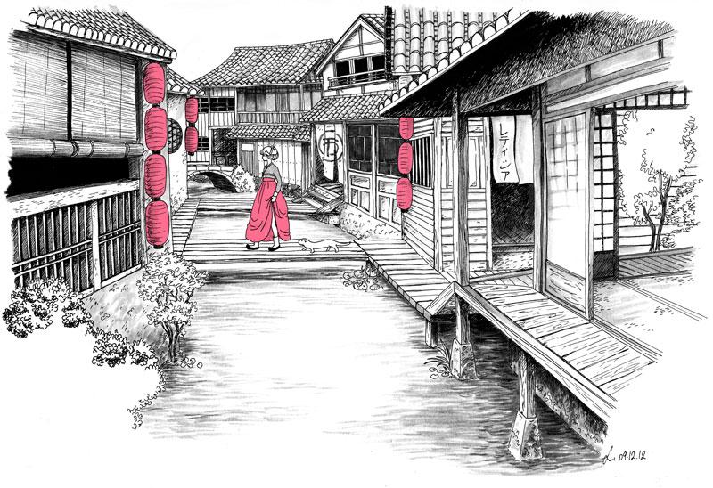 maison japonaise dessin du japon et des fleurs. Black Bedroom Furniture Sets. Home Design Ideas