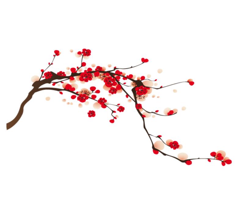 Arbre japonais du japon et des fleurs - Dessin arbre japonais ...