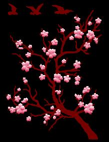 Branche de cerisier japonais du japon et des fleurs - Dessin arbre japonais ...