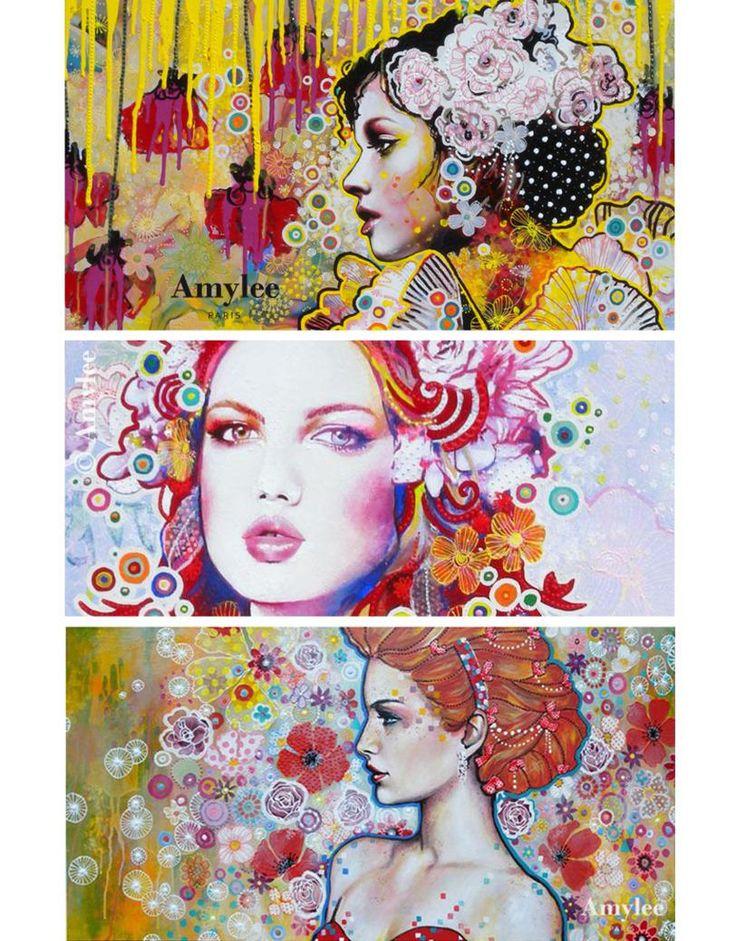 Artiste Peintre Contemporain Femme Du Japon Et Des Fleurs