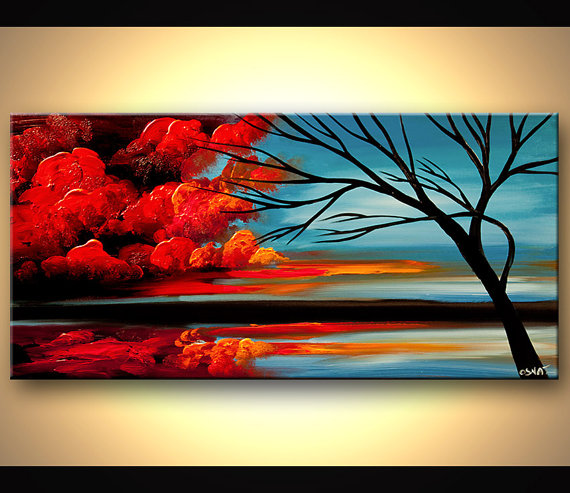 Peinture Abstraite Moderne Rouge Du Japon Et Des Fleurs